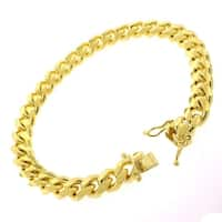 """14k Yellow Gold 8.5mm Solid Miami Cuban Curb Link Thick Bracelet Chain 9"""" - Box Lock"""