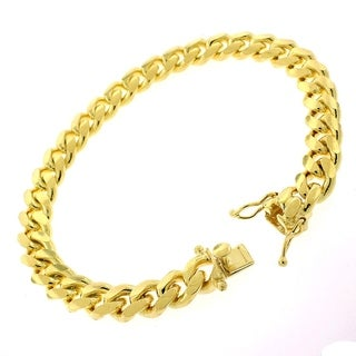 "14k Yellow Gold 8.5mm Solid Miami Cuban Curb Link Thick Bracelet Chain 9"" - Box Lock"