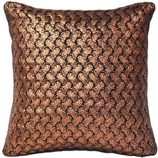 Pillow Decor - Hygge Metallic Copper Knit Pillow