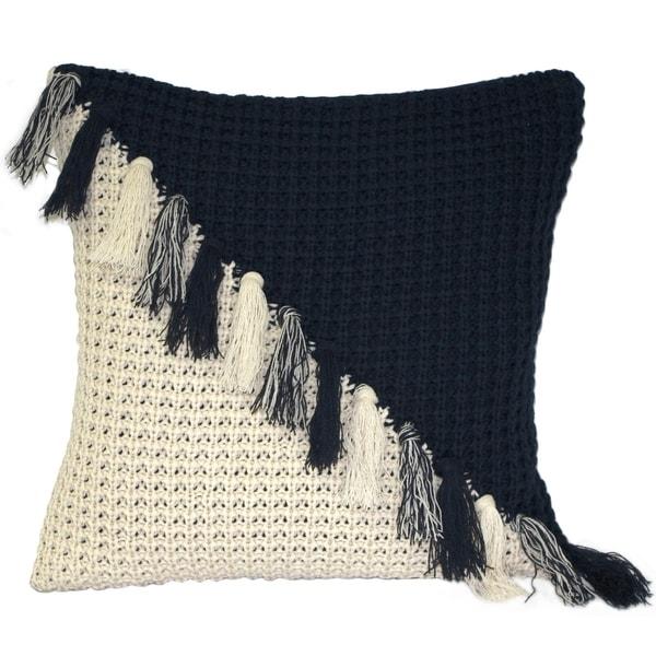 Pillow Decor - Hygge Coast Blue and Cream Knit Pillow