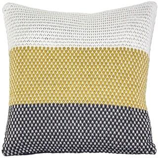 Pillow Decor - Hygge Tri-Stripe Yellow Knit Pillow