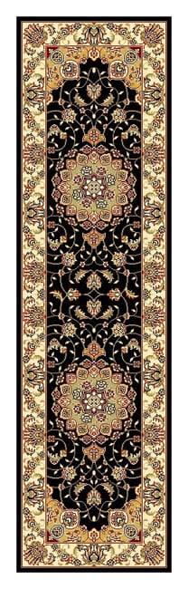 Lyndhurst Collection Traditional Black/ Ivory Runner (23 X 8) (BlackPattern OrientalMeasures 0.375 inch thickTip We recommend the use of a non skid pad to keep the rug in place on smooth surfaces.All rug sizes are approximate. Due to the difference of m