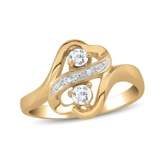 10K Yellow Gold Genuine Birthstone Ring with Diamond Accents