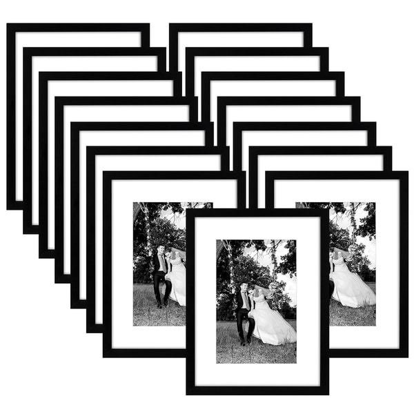 Americanflat 15 Pack - 12x16 Black Picture Frames - Made to Display Pictures 8x12 Inches with Mat and 12x16 Inches without Mat