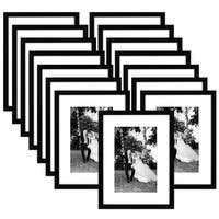 15 Pack - 12x16 Black Picture Frames - Made to Display Pictures 8x12 Inches with Mat and 12x16 Inches without Mat