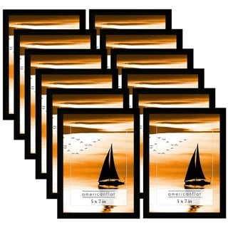 Americanflat 12 Pack - 5x7 Black Frames with Glass Fronts