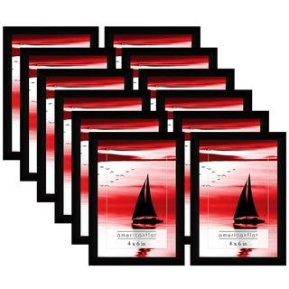Americanflat 12 Pack - 4x6 Black Picture Frames with Glass Fronts