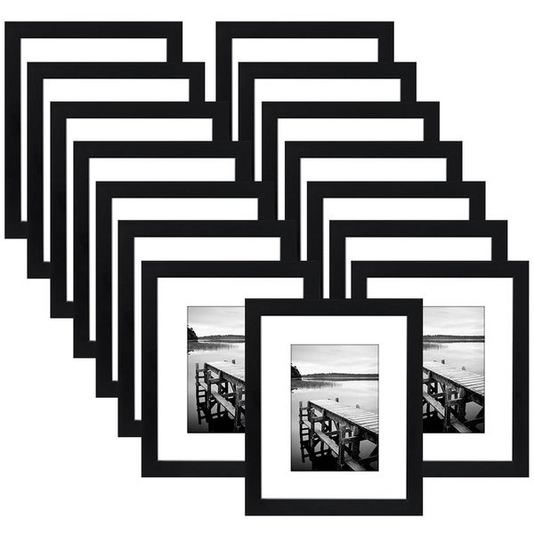 Americanflat 15 Pack - 8x10 Picture Frames - Made to Display Pictures 5x7 Inches with Mat or 8x10 Inches without Mat