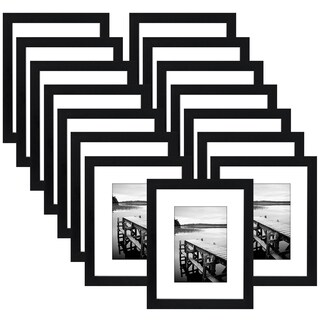 15 Pack - 8x10 Picture Frames - Made to Display Pictures 5x7 Inches with Mat or 8x10 Inches without Mat