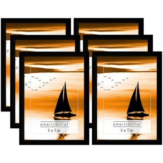 Americanflat 6 Pack - 5x7 Black Picture Frames with Glass Fronts