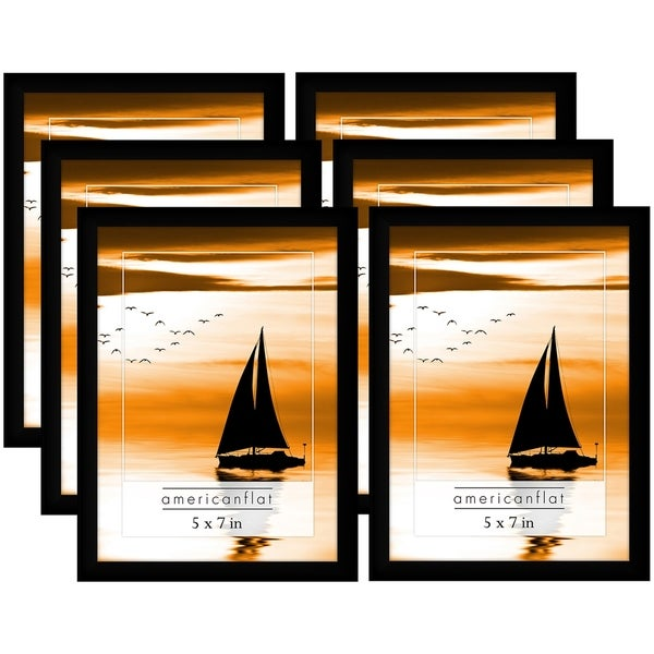 6 Pack 5x7 Black Picture Frames With Glass Fronts Free Shipping