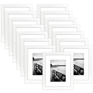 15 Pack - 8x10 White Picture Frames - Made to Display Pictures 5x7 Inches with Mat or 8x10 Inches without Mat