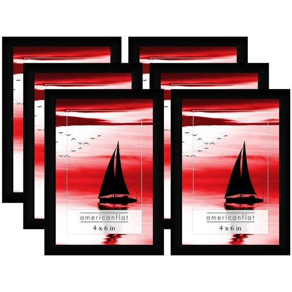 Americanflat 6 Pack - 4x6 Black Picture Frames with Glass Fronts