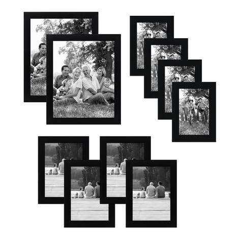 Americanflat 10 Piece Multipack Black Frames - Includes Two 8x10 Frames, Four 5x7 Frames, and Four 4x6 Frames