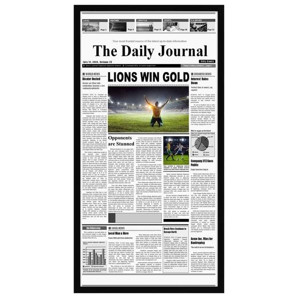 Americanflat 11x22 Newspaper Frame - Assorted Media Cover Frame - Hanging Hardware Included
