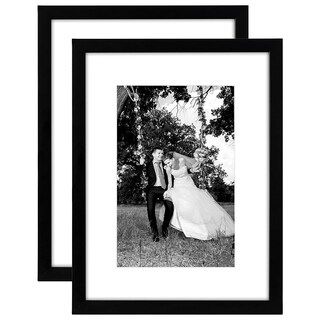 2 Pack - 12x16 Black Picture Frames - Made to Display Pictures 8x12 Inches with Mat or 12x16 without Mat - Glass