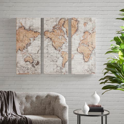 Madison Park Map of the World Natural Printed Canvas with 30-Percent Hand Brush Embellishment Set of 3
