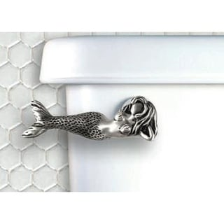 Functional Fine Art Satin Pewter Mermaid Toilet Handle - Side Tank Mount
