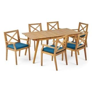 Mesa Outdoor 7-Piece Acacia Wood Dining Set by Christopher Knight Home (Teak Finish+Blue Cushion)