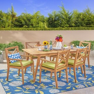 Mesa Outdoor 7-Piece Acacia Wood Iron Dining Set by Christopher Knight Home