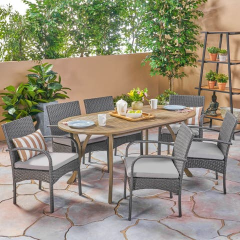 Mason Outdoor 7 Piece Wood and Wicker Dining Set by Christopher Knight Home