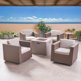 Hudson Outdoor 4 Piece Swivel Club Chair Set with Square Fire Pit by Christopher Knight Home (Light Gray/Brown/ceramic gray cushion)
