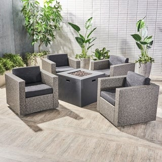 Hudson Outdoor 4 Piece Swivel Club Chair Set with Square Fire Pit by Christopher Knight Home (Dark Gray/dark gray cushion/mixed black)