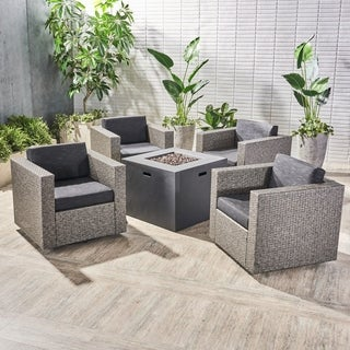 Hudson Outdoor 4 Piece Swivel Club Chair Set with Square Fire Pit by Christopher Knight Home