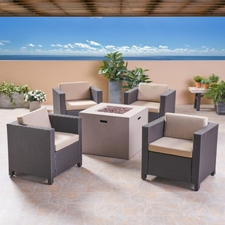 Maxwell Outdoor 4 Piece Club Chair Set with Square Fire Pit by Christopher Knight Home (Beige Cushion/Light Gray/Dark brown)