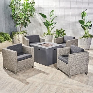 Maxwell Outdoor 4 Piece Club Chair Set with Square Fire Pit by Christopher Knight Home (Dark Gray/mixed black/dark gray cushion)