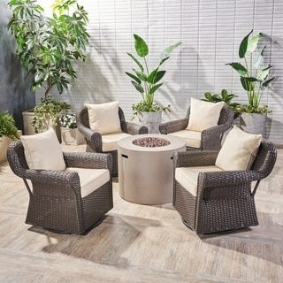 Oliver Outdoor 4 Piece Swivel Club Chair Set with Round Fire Pit by Christopher Knight Home (Beige Cushion/Light Gray/Dark brown)