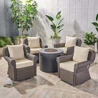 Oliver Outdoor 4 Piece Swivel Club Chair Set with Round Fire Pit by Christopher Knight Home