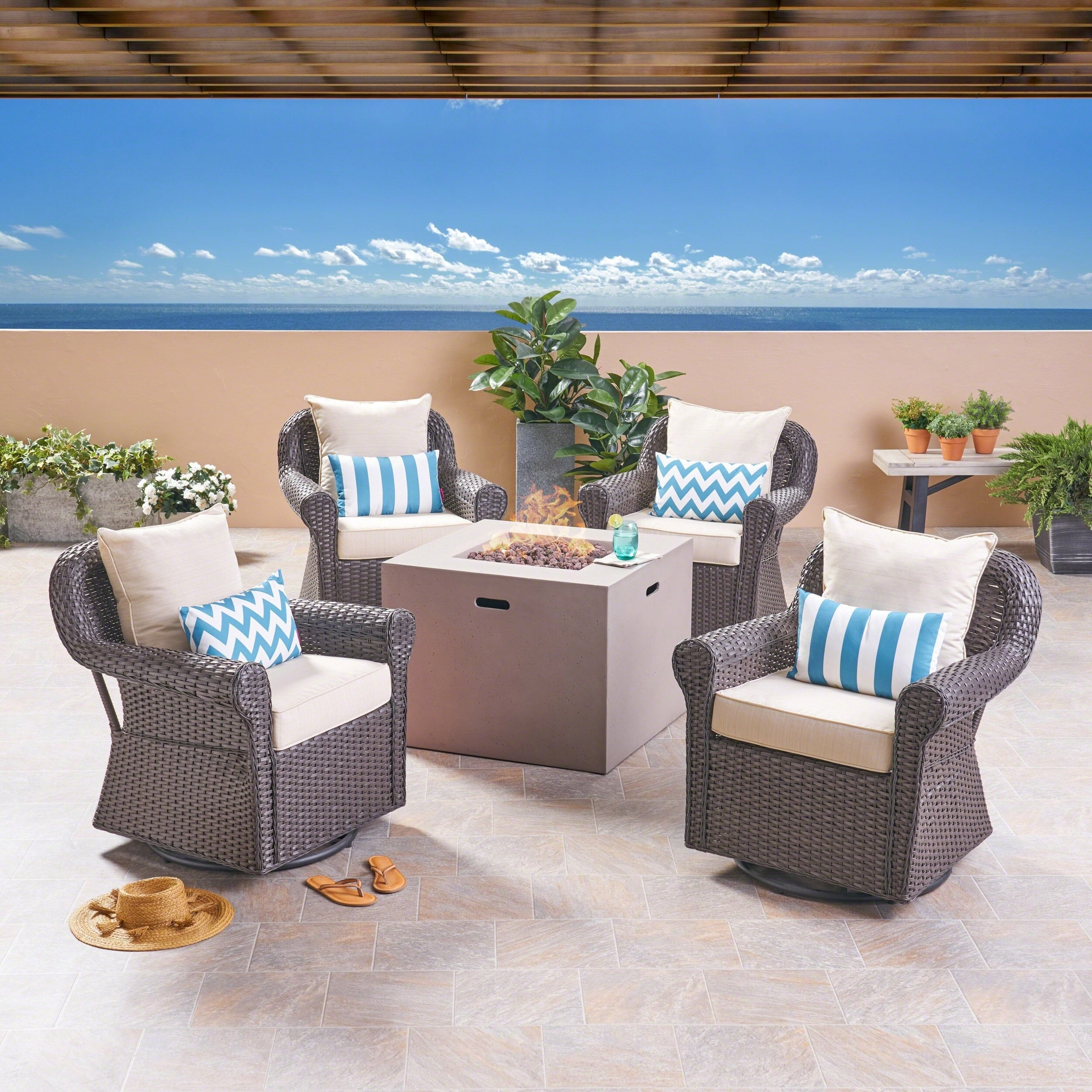 Julian Outdoor 4 Piece Swivel Club Chair Set with Square Fire Pit by Christopher Knight Home (Beige Cushion/Light Gray/Dark brown)