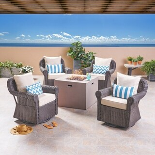 Julian Outdoor 4 Piece Swivel Club Chair Set with Square Fire Pit by Christopher Knight Home