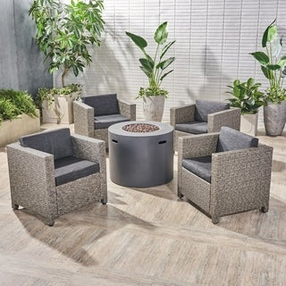 Nolan Outdoor 4 Piece Club Chair Set with Round Fire Pit by Christopher Knight Home