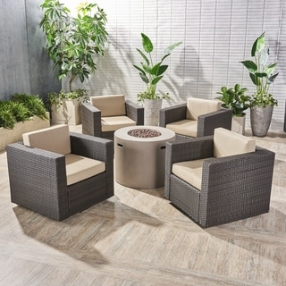 Eli Outdoor 4 Piece Swivel Club Chair Set with Round Fire Pit by Christopher Knight Home (Beige Cushion/Light Gray/Dark brown)