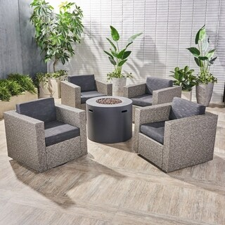 Eli Outdoor 4 Piece Swivel Club Chair Set with Round Fire Pit by Christopher Knight Home