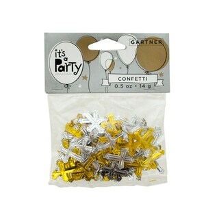Bulk Buys Gold and Silver Crosses Confetti - Pack of 24