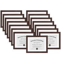 """Americanflat 15 Pack - Mahogany Document Frames - Document Sized 8.5""""x11"""" with Mat"""