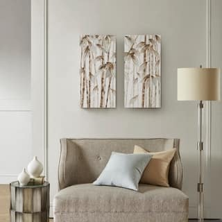 Madison Park Bamboo Forest Natural Printed Canvas with 30-Percent Hand Brush Embellishment Set of 2 - 14 x 28 x 1.5 (2)