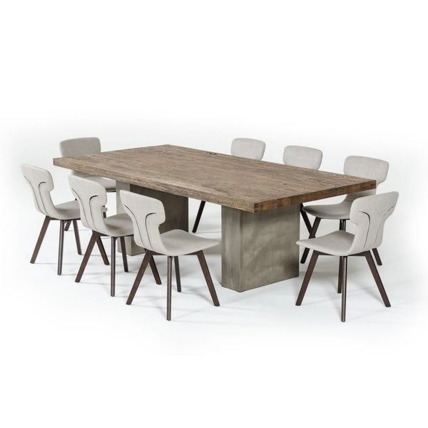 Modrest Renzo 94 Modern Oak Concrete Dining Table