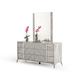 Nova Domus Alexa Italian Modern Grey Dresser & Mirror