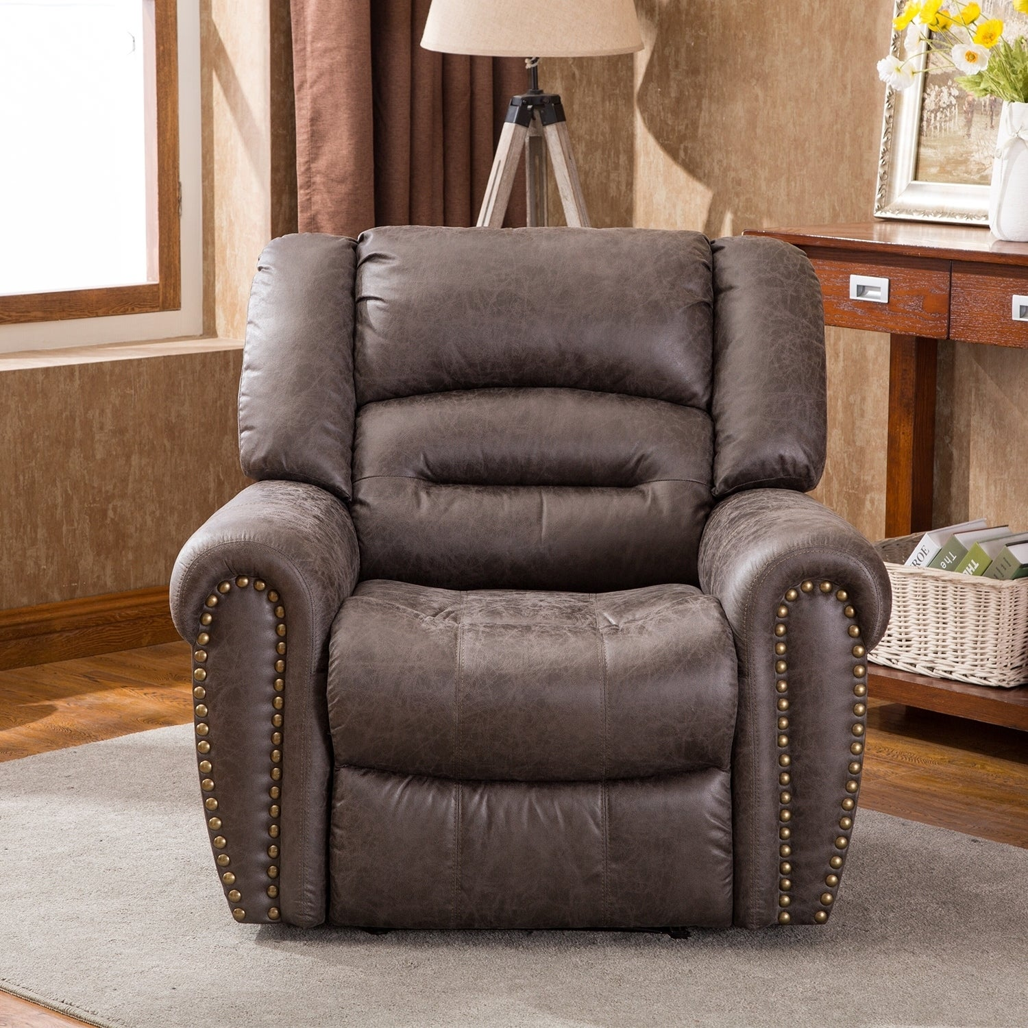 Power Recliner Chair Worned Leather Look Micro Fiber Oversized Electirc Recliner Chair