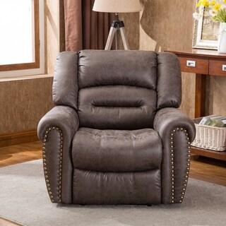 BONZY Power Recliner Chair Worned Leather Look Micro Fiber Oversized Electirc Recliner Chair - Smoke Gray