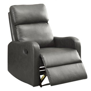 BONZY Recliner Chair Leather Recliner Chair Contemporary- Dark Gray
