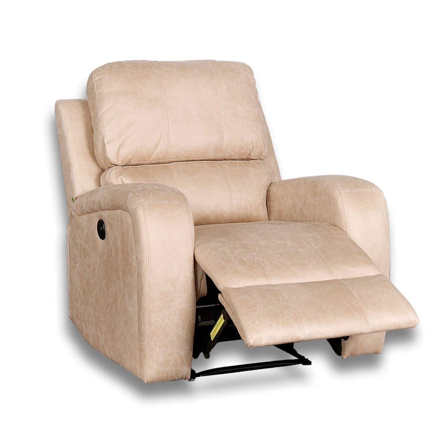 BONZY Power Recliner Chair Worned Leather Look Cover with Over Stuffed Head Cushion Electirc Recliner Chair - Buff