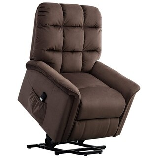BONZY Lift Recliner Chair Power Lift Chair with Gentle Motor Velvet Cover Modern Design - Chocolate