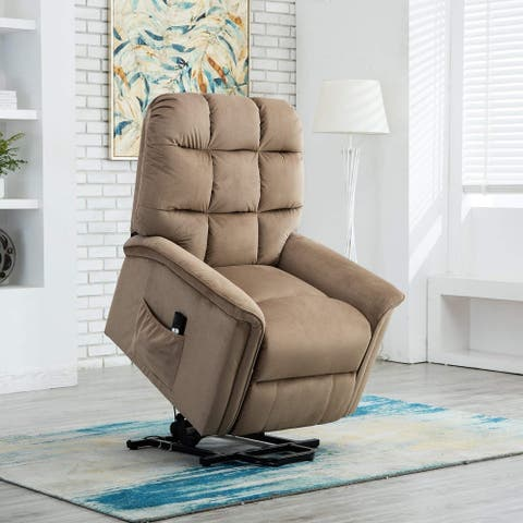 BONZY Lift Recliner Chair Power Lift Chair with Gentle Motor Velvet Cover Modern Design - Mocha