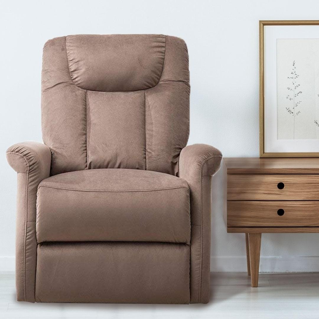 BONZY Lift Recliner Chair Power Lift Chair with Gentle Motor Velvet Micro Fiber Cover- Velvet Chocolate