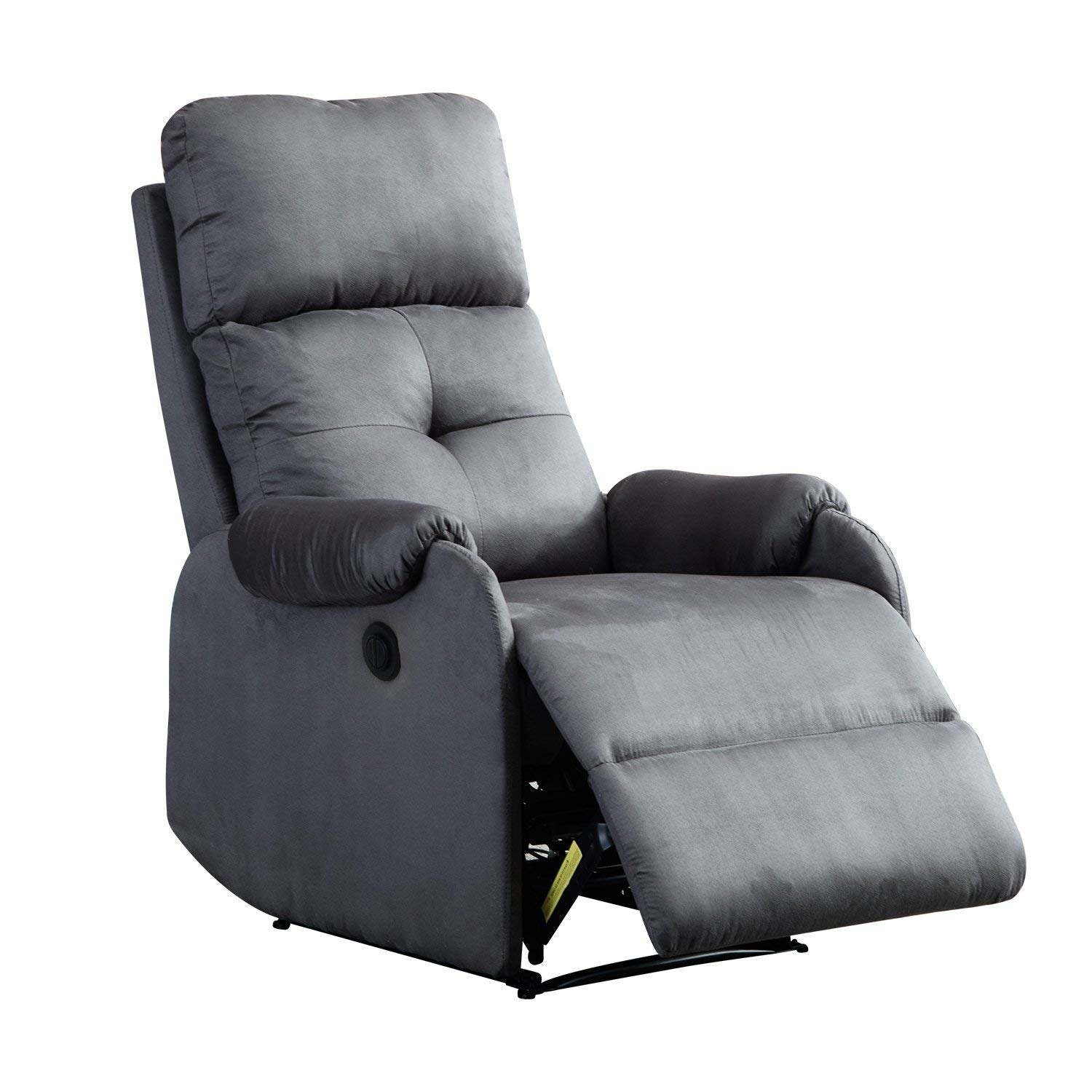 BONZY Power Recliner Chair with Suede Cover  Tuffted Backrest Gentle Reclining Track - Smoke Gray